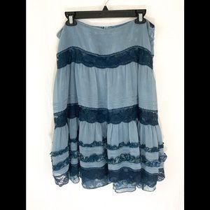 ❤️ 3/20 DKNY Gorgegeous Blue Ruffle Skirt Size 10
